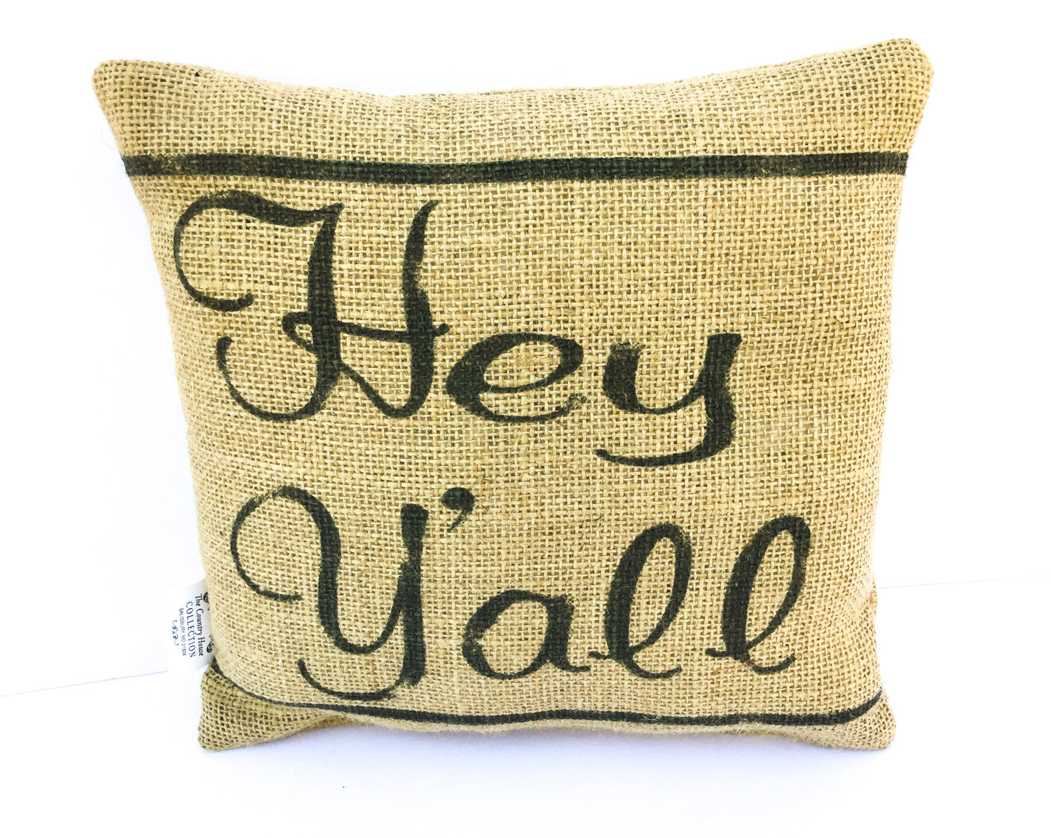 Hey Y'all Burlap Pillow