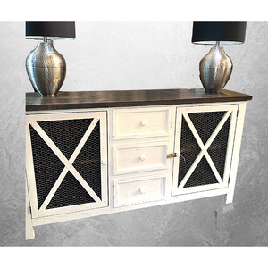 White Chicken Wire  Console -  Buffet - Dresser