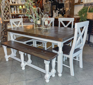 Rustic Farmhouse Table with bench and chairs