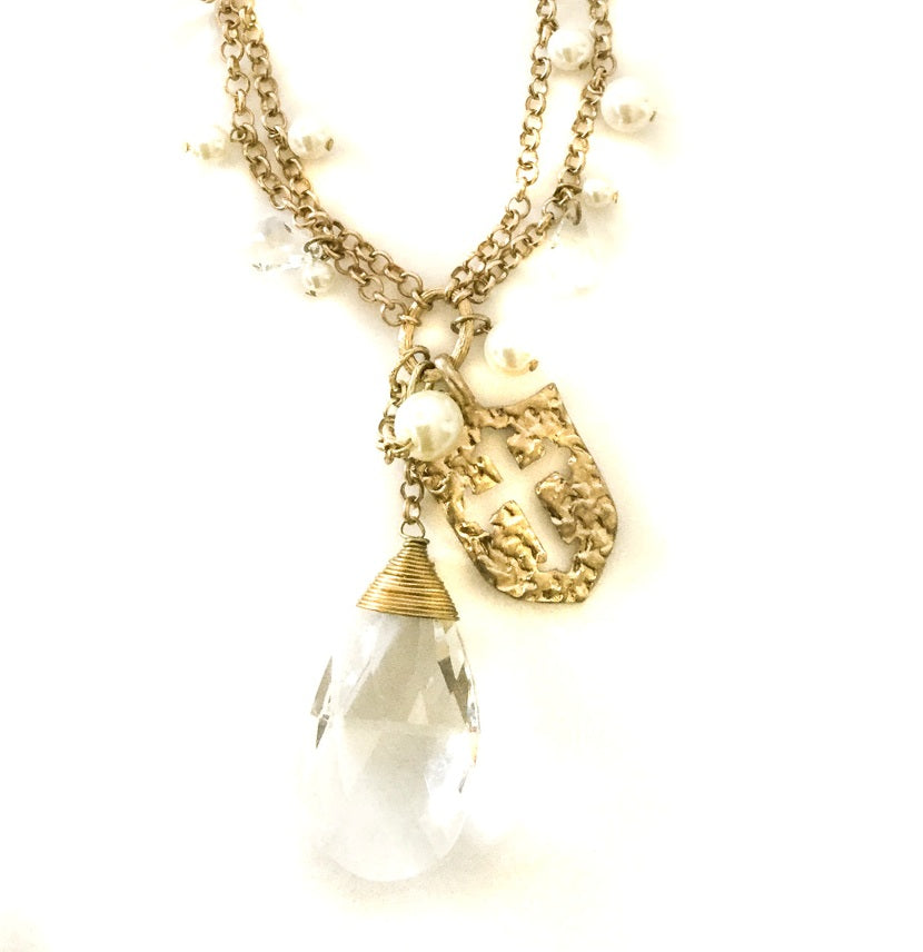 Crystal and Pearl Necklace by Ethel and Myrtle