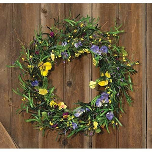Mixed Pansy Wreath   20""