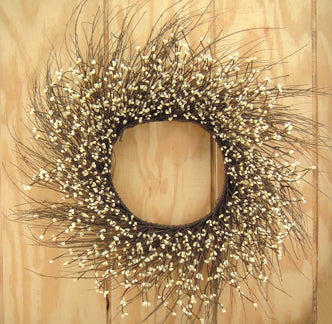 Ivory Pip Twig Wreath 22""