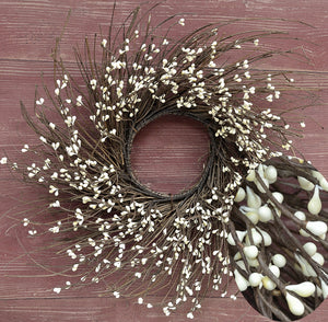 Ivory Pip Twig Wreath 16""