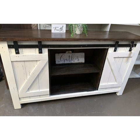White Barn Door Console - Media Cabinet