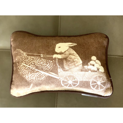 Vintage Themed Bunny Pillow