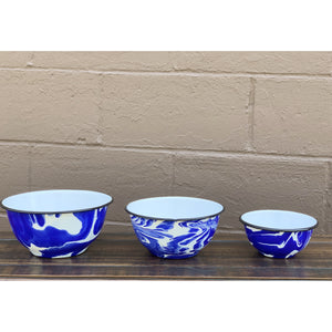 Blue and White Splatterware - Set of 3 Bowls