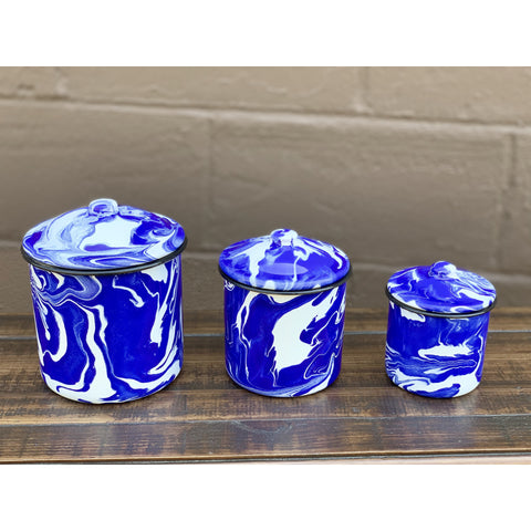 Blue and White Splatterware - Set of 3 Canisters