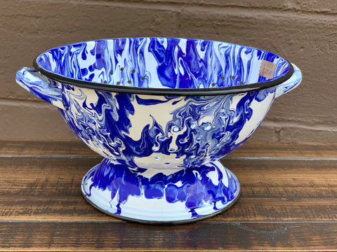 Blue and White Splatterware Colander