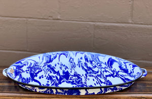 Blue and White Splatterware Serving Tray