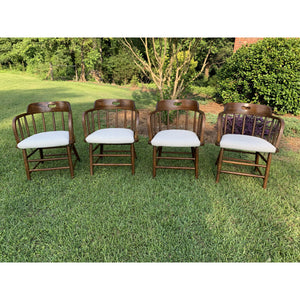 Vintage Oak Barrel Back Chairs - Set of 4