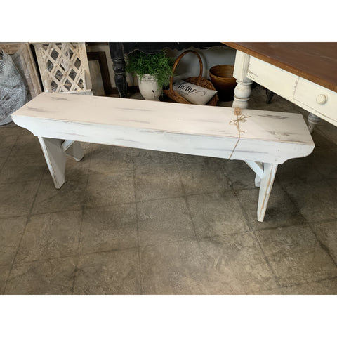 Farmhouse Bench - White Distressed