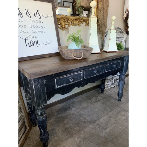Black Distressed Sideboard - Entryway Table
