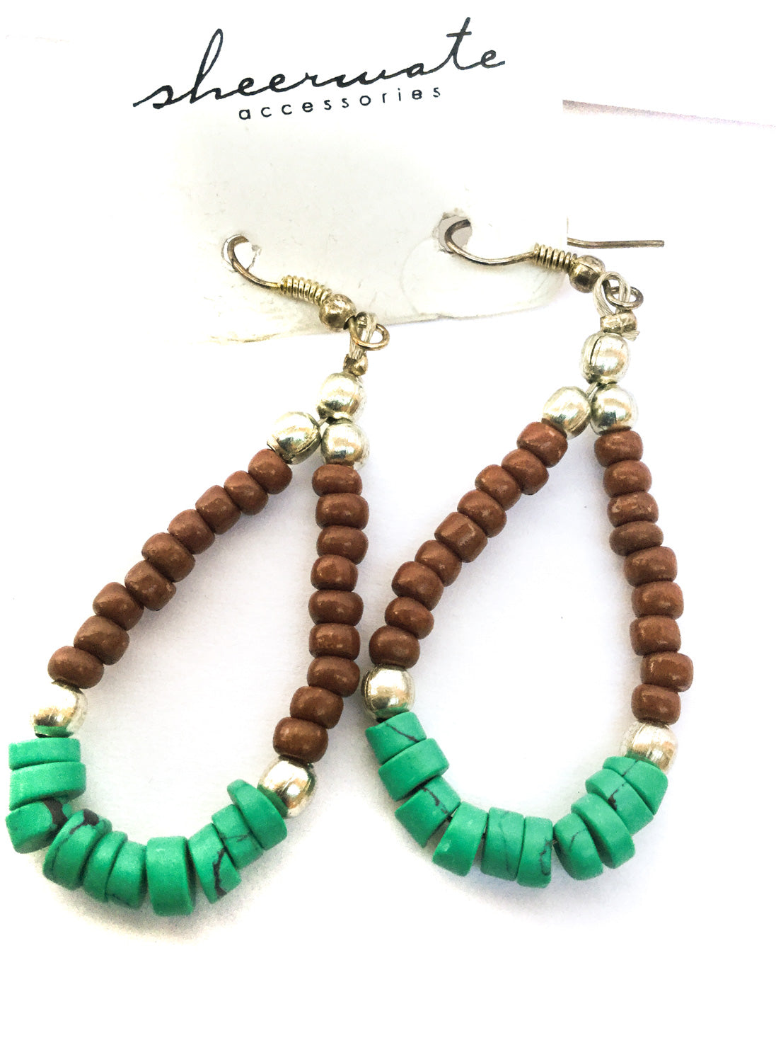 Turquoise and Brown Beaded Earrings