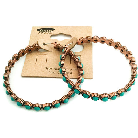 Turquoise and Copper-colored Hoop Earrings