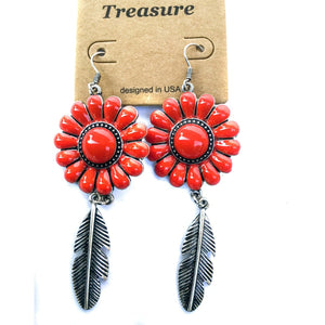 Red & Silver Fashion Earrings