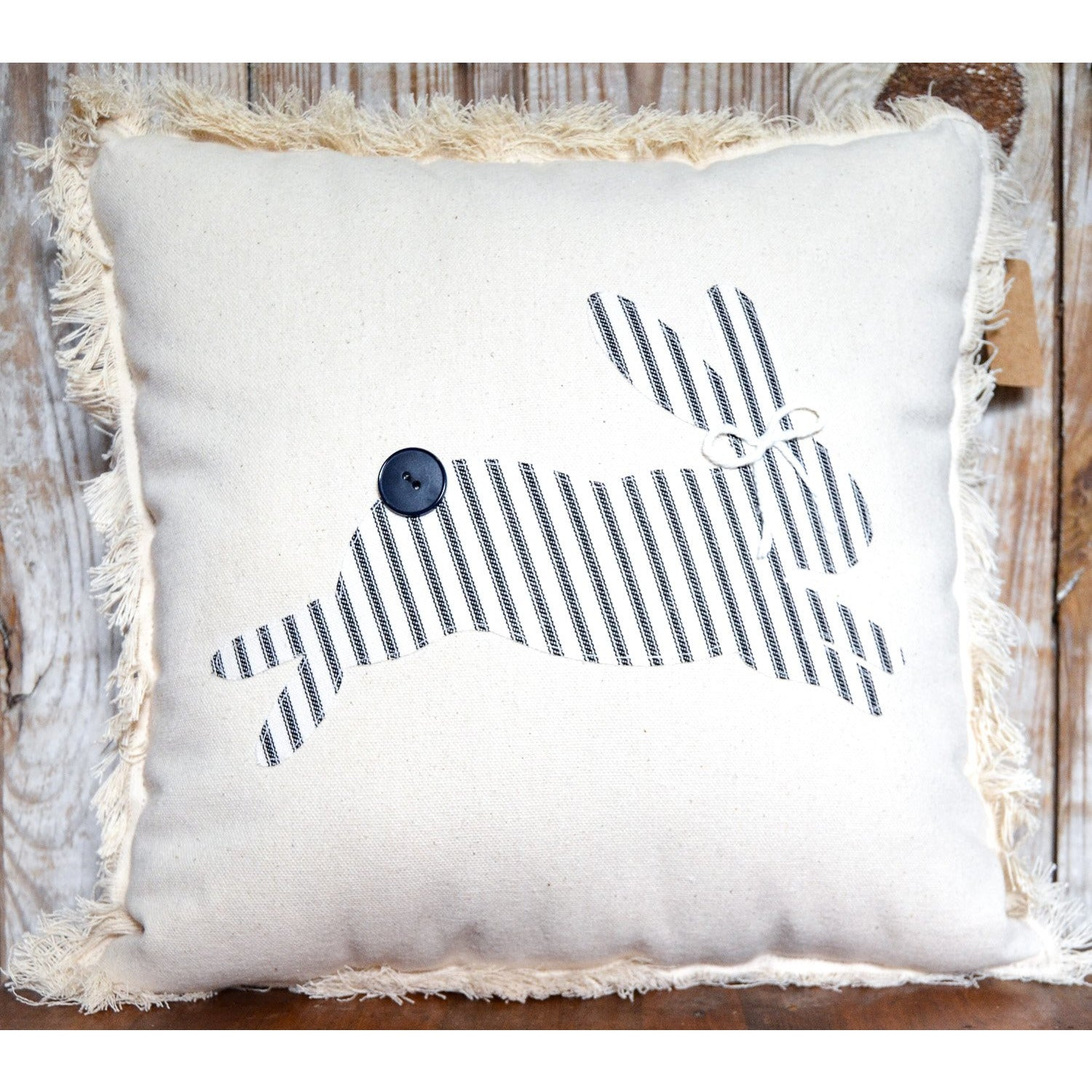 Black Ticking Bunny Pillow