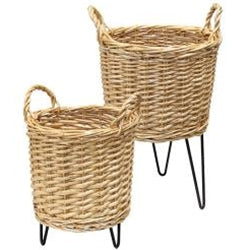 Wicker Plant Stands - Set of 2