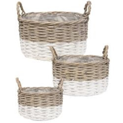 Two-toned Willow Baskets - Set of 3