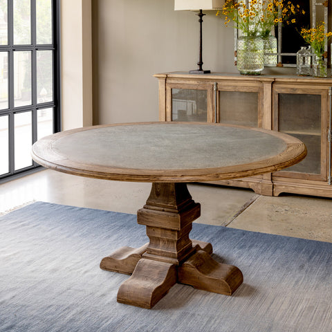Aged Zinc Top Round Dining Table