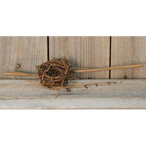 *Twig Bird Nest w/Forked Stems   2""