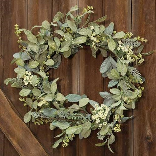 Mixed Lamb's Ear Wreath 20""