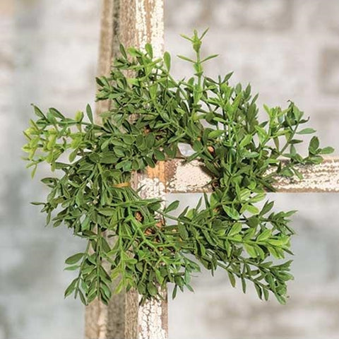 "New England Boxwood Candle Ring 2""/6"""