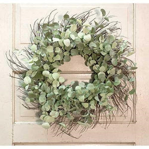 Silver Drop Eucalyptus Twig Wreath 24""