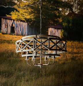 Metal Industrial Trestle Chandelier