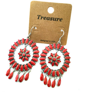 Western Red and Silver Flower Design Earrings