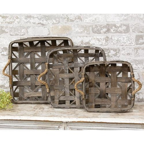 Natural Square Tobacco Baskets with Jute Handles - Set of 3
