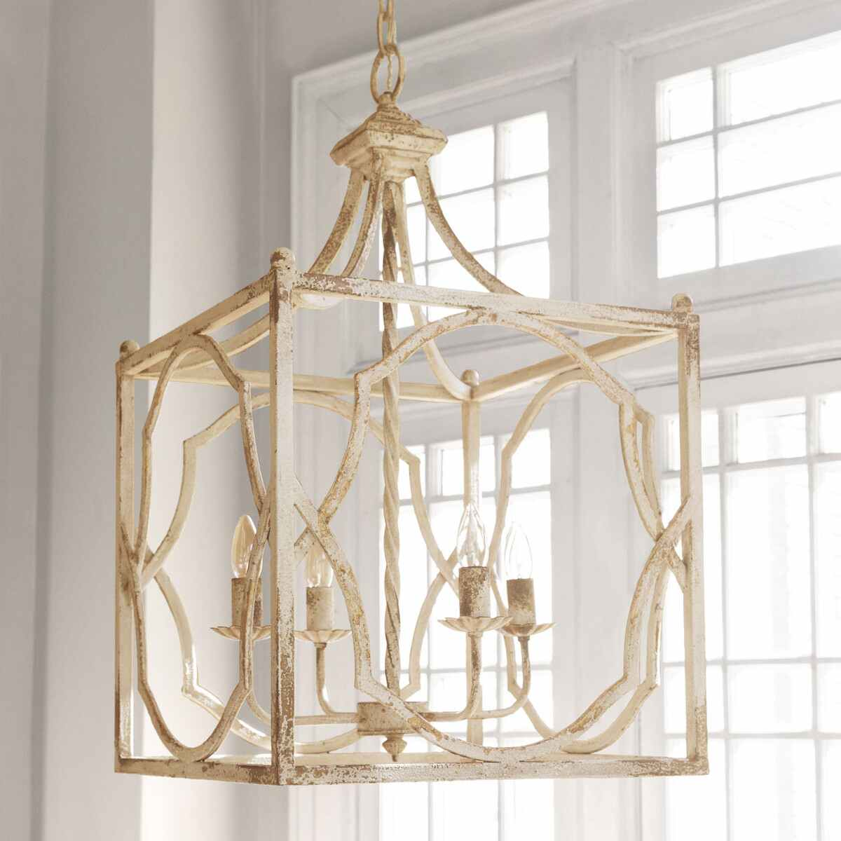 White Distressed Hanging Light