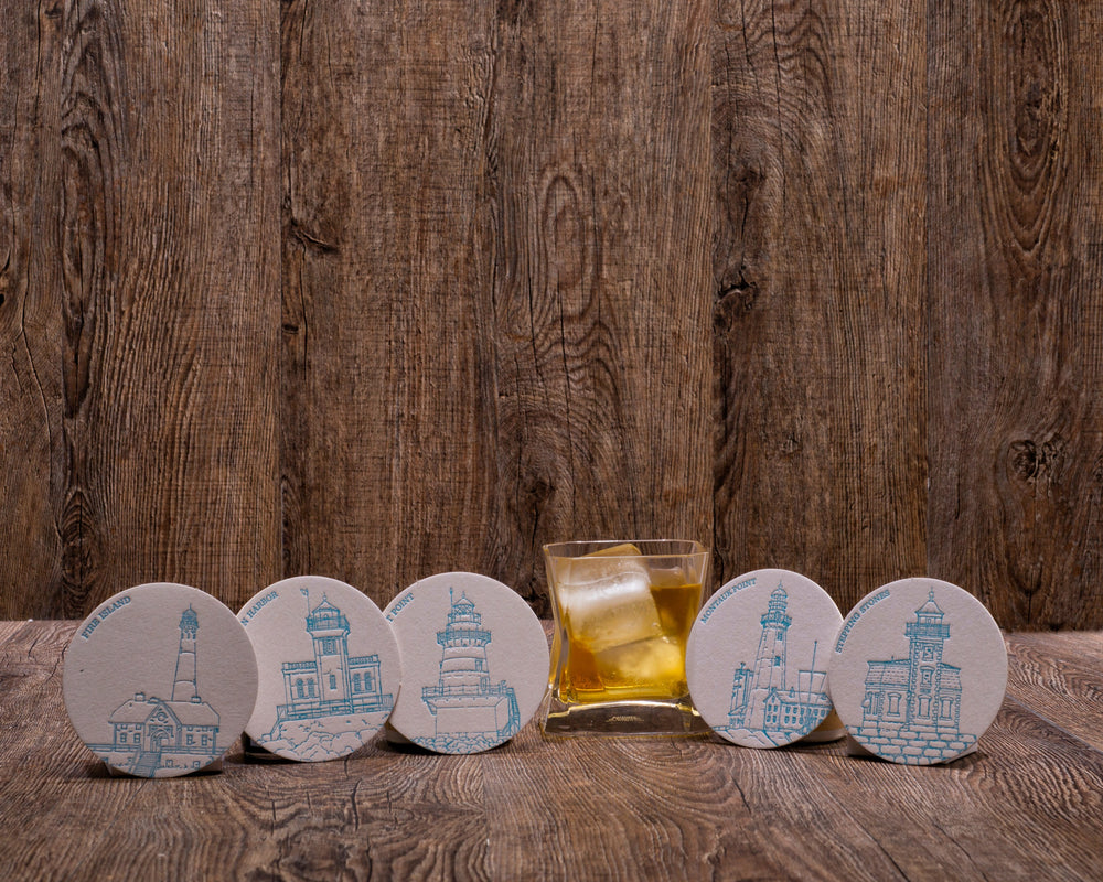 Dolce Press Long Island Lighthouse Coaster Set (5)