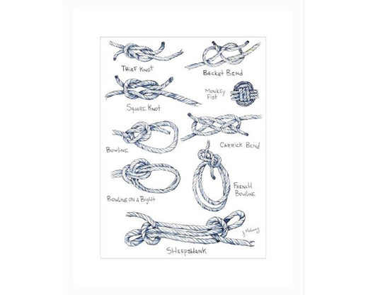 SOLD OUT Jackie Maloney Nautical Knot Chart Watercolor Print