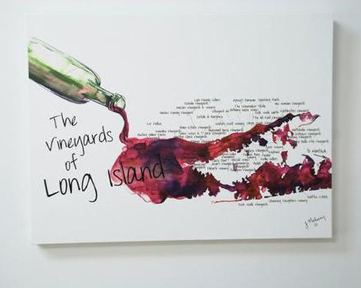 Jackie Maloney Vineyards of Long Island Map Print - Merlot