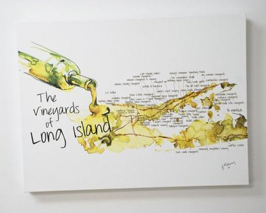 Jackie Maloney Vineyards of Long Island Map Print - Chardonnay