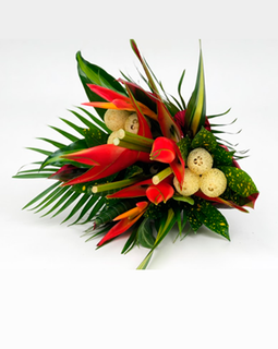 ROUND PARROT BOUQUET | TROPICAL FLOWERS