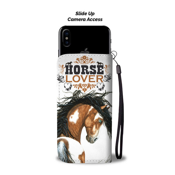 "Swipe up phone view of ""Horse Lover"" Wallet Phone Case in White Background - Horse Deco Store"