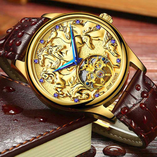 "Gold Color ""Vanderbilt"" Horse Luxury Watch on a Book - Horse Deco Store"