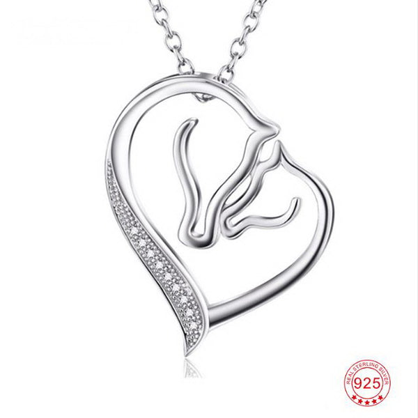 """Sweet"" Horses Silver Necklace in White Background - Horse Deco Store"