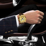 "Gold Color ""Vanderbilt"" Horse Luxury Watch on a Wrist of Driving Man - Horse Deco Store"