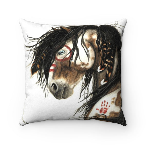 """Wakanda"" Horse Faux Suede Square Pillow Case in White Background - Horse Deco Store"