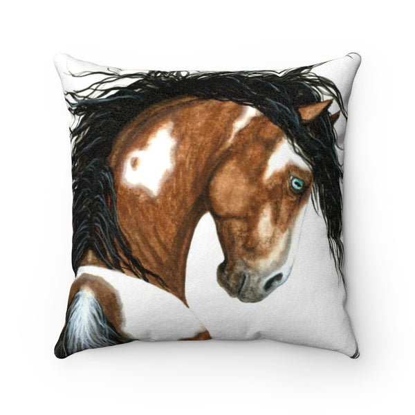 """Kipitaki"" Horse Faux Suede Square Pillow Case in White Background - Horse Deco Store"