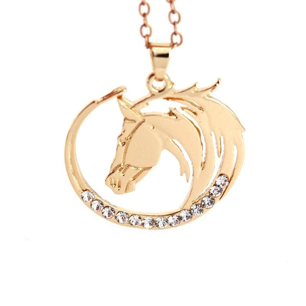 """Skyfire"" Horse Gold Color Necklace in White Background - Horse Deco Store"