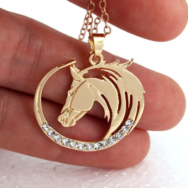 """Skyfire"" Horse Gold Color Necklace in a Hand - Horse Deco Store"