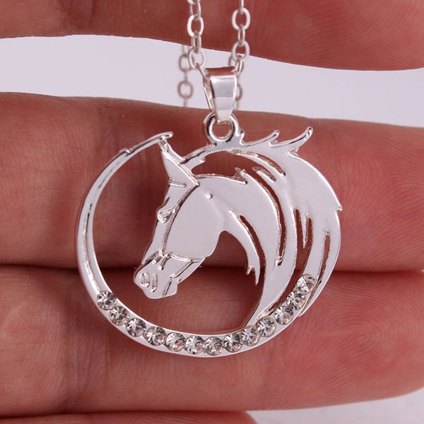 """Skyfire"" Horse silver Plate Color Necklace in a Hand - Horse Deco Store"