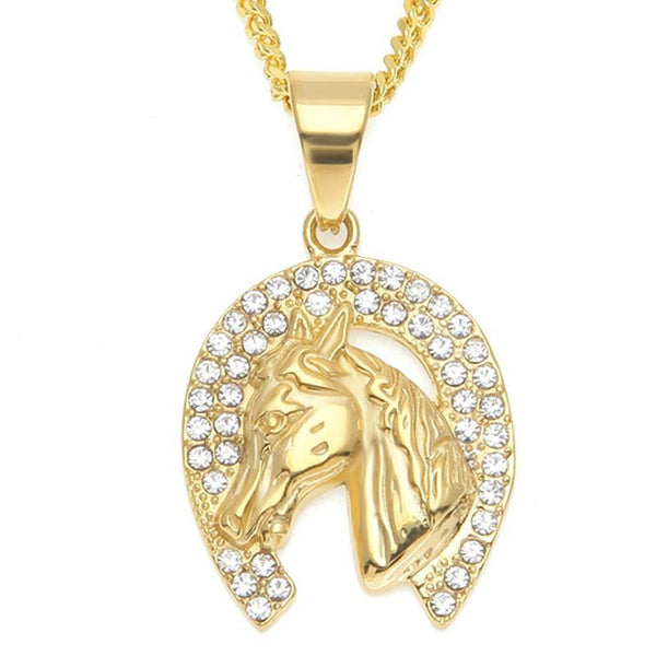 """Felicity"" Horseshoe Necklace in White Background - Horse Deco Store"