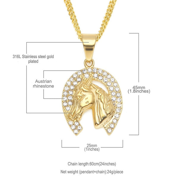 """Felicity"" Horseshoe Necklace and dimensions in White Background - Horse Deco Store"
