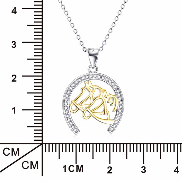 """Fellowship"" Horseshoe Silver Necklace Dimensions in White Background - Horse Deco Store"