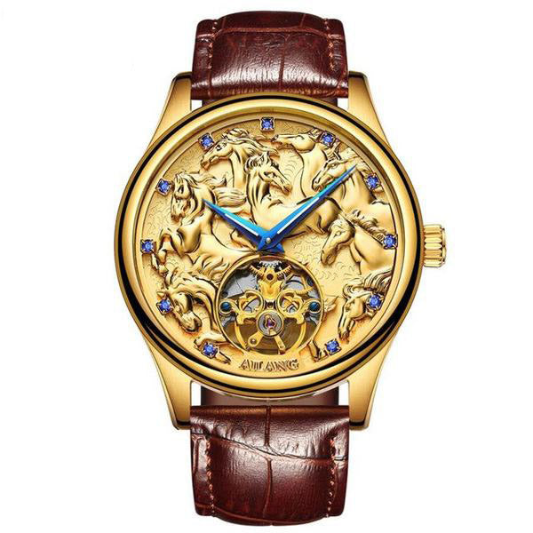 "Gold Color ""Vanderbilt"" Horse Luxury Watch in White Background - Horse Deco Store"
