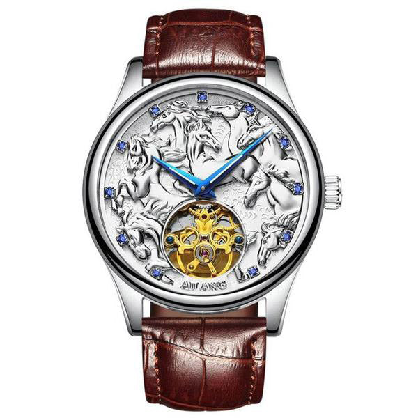 "Silver Color ""Vanderbilt"" Horse Luxury Watch in White Background - Horse Deco Store"